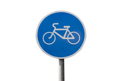 Isolated bicycle lane sign. Blue bicycle lane sign isolated on white with clipping path Royalty Free Stock Photo
