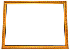 Isolated big gold painting frame Royalty Free Stock Images