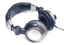 Isolated big grey headphones Stock Photography