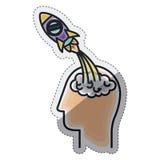 Isolated big idea draw design. Rocket and head draw icon. Big idea creativity imagination and inspiration theme. Isolated design. Vector illustration royalty free illustration