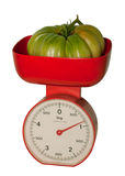 Isolated  big tomato on scales Royalty Free Stock Image
