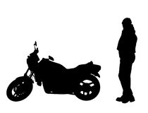 Isolated biker and motorbike Royalty Free Stock Images