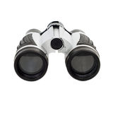 Isolated Binoculars. A plastic pair of binoculars, isolated against a white background Royalty Free Stock Photo