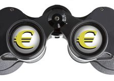 Isolated binoculars with money Stock Images