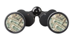 Isolated binoculars with money Stock Photos