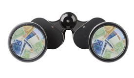 Isolated binoculars with money Royalty Free Stock Photos
