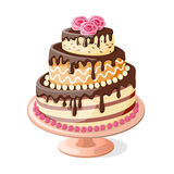 Isolated  birthday cake tier with roses Royalty Free Stock Photography