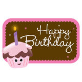 Isolated birthday cupcake with sign Stock Images