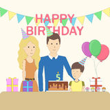 Isolated birthday family. Royalty Free Stock Image