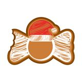 Isolated bitten bowtie gingerbread. With a christmas hat. Vector illustration design stock illustration