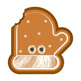 Isolated bitten christmas glove gingerbread. Vector illustration design royalty free illustration