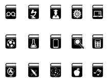 Black book icons set. Isolated black book icons set from white background Royalty Free Stock Photography
