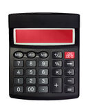 Isolated Black Calculator. Black calculator with red screen isolated on the white background Stock Images