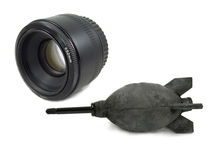 Isolated Black Camera DSLR lens and Blower Royalty Free Stock Photo