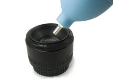 Isolated Black Camera DSLR lens and Blower Stock Images