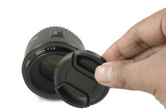Isolated Black Camera DSLR lens and lens cap Royalty Free Stock Photo