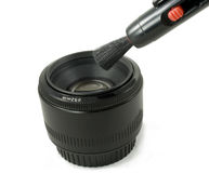 Isolated Black Camera DSLR lens and lens pen Stock Photos