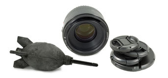 Isolated Black Camera Lens Equipment Royalty Free Stock Image