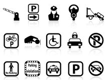 Car parking icons. Isolated black car parking icons on white background Royalty Free Stock Photos