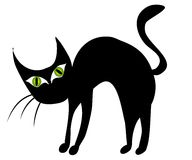 Isolated Black Cat Clip Art 2. A clip art illustration of a black cat with big green eyes, with arched back Vector Illustration