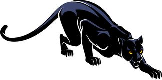 Jaguar Crawl Silhouette. Isolated black cat predator crouching and hunting vector illustration vector illustration