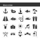 Isolated black collection icon of cocktail, badminton, flippers, hat, jet ski, sunglasses, shell, sailboat, anchor, ring rubber, p. Alm, sunscreen swimsuit photo Stock Photos