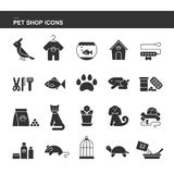 Isolated black collection icons of dog, cat, parrot, fish, aquarium, animal food, collar, turtle, kennel, grooming accessories, ca. Ge, mouse flower pot rabbit Stock Photo
