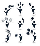 Isolated black color abstract human body silhouette logos set, business,education, holiday party symbols vector Royalty Free Stock Photo
