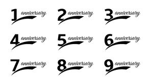 Isolated black color numbers with word anniversary icons set, greeting card elements collection vector illustrations. Stock Images