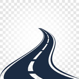 Isolated black color road or highway with dividing markings on white background vector illustration Stock Photo