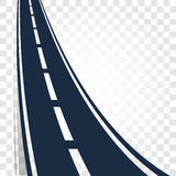 Isolated black color road or highway with dividing markings on white background vector illustration.  Stock Image