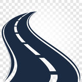 Isolated black color road or highway with dividing markings on white background vector illustration. Royalty Free Stock Photos