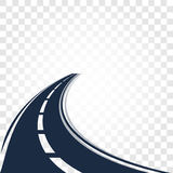 Isolated black color road or highway with dividing markings on white background vector illustration. Royalty Free Stock Photography