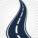 Isolated black color road or highway with dividing markings on white background vector illustration. Stock Photography