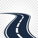 Isolated black color road or highway with dividing markings on white background vector illustration. Royalty Free Stock Images