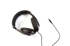 Isolated black earphones Royalty Free Stock Photo