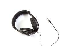 Isolated black earphones Royalty Free Stock Photo