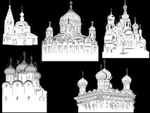 Isolated on black five orthodox cathedrals Stock Photo