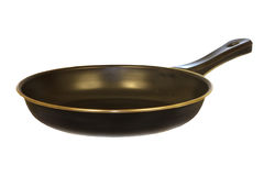 Isolated Black Frying Pan v1. Is glossy black isolated on a white background Royalty Free Stock Image