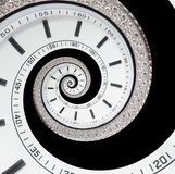 Isolated on black futuristic modern white clock watch abstract fractal surreal spiral. Watch clock unusual abstract texture time. Isolated on black futuristic Royalty Free Stock Photos