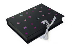 Isolated black gift box. With white tape + clipping path Stock Images