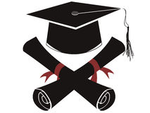 Isolated black graduation cap and diploma Royalty Free Stock Image