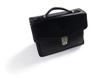 Isolated black leather bag Royalty Free Stock Images