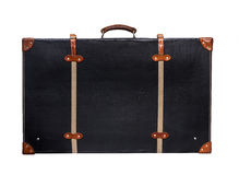 Isolated Black Leather Suitcase on a White Background Stock Images