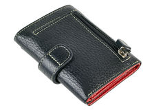 Isolated black  leather wallet Stock Image