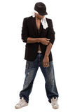 Isolated black man getting ready to dance Royalty Free Stock Images