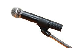 Isolated black microphone Stock Photography