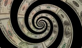 Isolated on black money US dollars spiral twirl made of one hundred, fifty and ten dollars banknotes US money abstract background. Royalty Free Stock Photos
