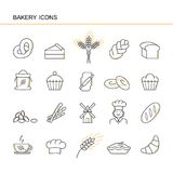 Isolated black outline collection icons of croissant, bread, cake, ear wheat, chef, mill, cup, cupcake, pretzel, sack flour, chall stock illustration