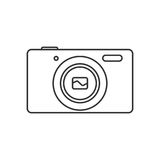 Isolated black outline compact digital camera on white background. Line icon. Isolated black outline compact digital camera on white background. Line icon Royalty Free Stock Image
